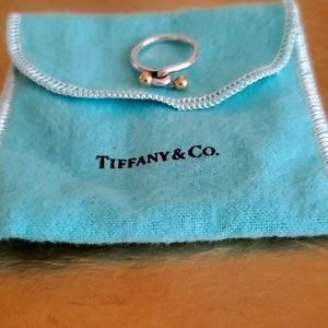 Tiffany & Co. silver and 18kt gold love knot ring